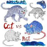 Design set with isolated illustrations of cat and rat or mouse Stock Image