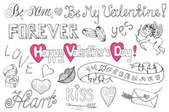Design set with love symbols, text and letters Stock Images