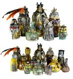 Design set with magic witch bottles decorated with crystals isolated on white. Wicca, esoteric, divination and occult concept with vintage magic objects for stock photo