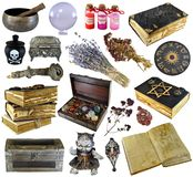 Design set with old books, ancient manuscript,  witch herbs, potion isolated on white. Wicca, esoteric, divination and occult concept with vintage magic stock images