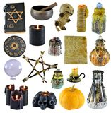 Design set with pentagram, pumpkin, witch book, black candle isolated on white. Wicca, esoteric, divination and occult concept with vintage magic objects for stock photos