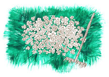 Design set with rake and clover on green background Stock Photos