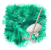 Design set with rake and wheelbarrow on green background Royalty Free Stock Photo