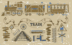 Design set with retro locomotives, wagons and train theme Royalty Free Stock Photo