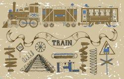 Design set with retro locomotives, wagons and train theme Royalty Free Stock Photo