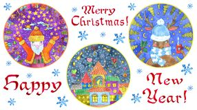 Design set with round cards with Santa, decorated cute houses, deer and text on white stock photo