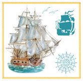 Design set with sailing ship and silhouettes Royalty Free Stock Photography