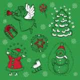 Design set with Santa, angels and snowman Stock Photos