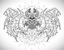 Design set with scary gothic and mystic symbols - skull, dolphin, cat, snakeDemon with mystic sacred geometry symbols against patt royalty free illustration
