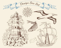Design set with sea theme objects 1 Stock Photography