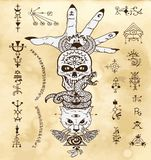 Design set with skull, cat, snake and open palm, with gothic and mystic symbols on old texture background Vector Illustration