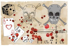Design set with skull, dagger and cards Royalty Free Stock Photo