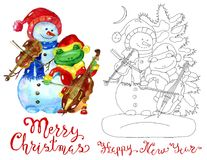 Design set with snowman and frog playing music Stock Image