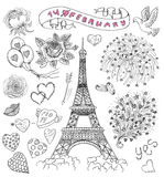 Design set with the 14th February and love symbols. Design set with the Eiffel Tower, roses, text, banner and love symbols. Line art doodle illustration with royalty free illustration