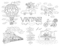 Design set with  travel theme and old transport. Design doodle set with old means of transportation. Vintage illustration of ship, train, plane and bicycle Stock Image