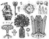 Design Set With Mystic Symbols Isolated On White. Stock Image