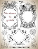 Design Set With Sea Frames, Labels And Symbols Royalty Free Stock Images