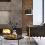 Design side table with decor, white and gilded chrome vase. 3D rendering royalty free illustration