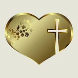 Design silhouette of the heart with a golden hue with a cross. Silhouette of a heart design with a golden tint with a cross and ornament Stock Images