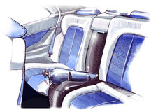 Design sketching the interior of a sports car coupe. Illustration. Royalty Free Stock Photography