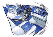 Design sketching the interior of a sports car coupe. Illustration. Royalty Free Stock Images