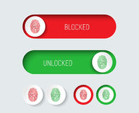 Design sliders and buttons red and green with a fingerprint. Stock Image