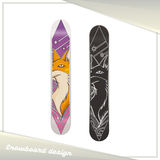 Design Snowboard Fox. Design of a snowboard with the image of fox. Dark and light on a white background Royalty Free Stock Photography