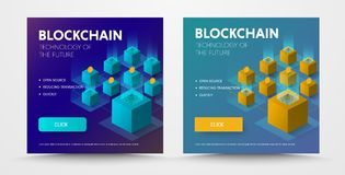 Design of a social media banner with an isometric illustration o. F the blockchaine  technology from computer blocks combined into one network. Templates for the Royalty Free Stock Image