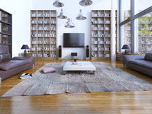 Design of spacious living room with panoramic windows Royalty Free Stock Images