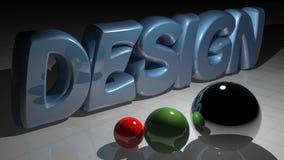 Design spheres. DESIGN on a white plane with some spheres stock illustration
