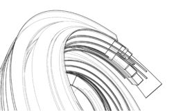 Design spiral elements. Vector. Rendering of 3d. Wire-frame style. The layers of visible and invisible lines are separated stock illustration