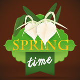 Design for Spring with White Orchids and Ribbon, Vector Illustration Stock Photos