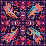 Design for square pocket, shawl, textile Stock Photo