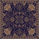 Design for square pocket, shawl, textile. Paisley floral pattern Stock Image