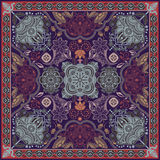 Design for square pocket, shawl, textile. Paisley floral pattern Stock Photo