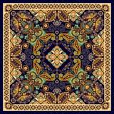 Design for square pocket, shawl, textile. Paisley floral pattern vector illustration