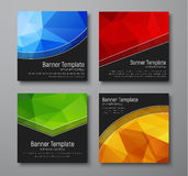 Design square web banners. Templates with gold, blue, red and gr Stock Photos