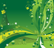 Design for St. Patrick's Day. Abstract colorful design for St. Patrick's Day with four leaf clovers, green bubbles and small circles stock illustration