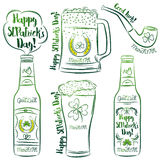Design  for  St Patricks Day, shamrock, horseshoe, beer mug, bot Stock Image