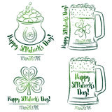 Design  for  St Patricks Day, shamrock, horseshoe, beer mug, gol Royalty Free Stock Photography