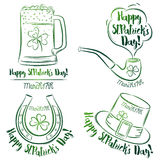 Design  for  St Patricks Day, shamrock, horseshoe, beer mug, pip Royalty Free Stock Image