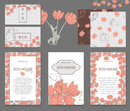 Design stationery set in vector format. Business or other event painted floral background. Design stationery set in vector format. Corporate design. Delicate Stock Photo