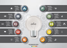 Design 10 steps with idea light blub template/graphic or website layout. 10 steps chart. Design 10 steps with idea light blub template/graphic or website layout Royalty Free Stock Image