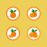Design Stickers with Juicy Orange Royalty Free Stock Image