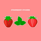 Design Stickers with Juicy Ripe Strawberry Stock Photography