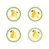 Design Stickers with Ripe Juicy Pear Royalty Free Stock Image