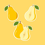 Design Stickers with Ripe Juicy Pear Stock Photography