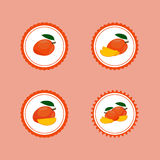 Design Stickers with Ripe Yummy Mango. For the company in vector format Stock Images