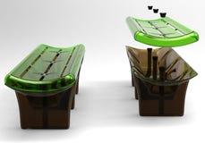 Design of a street bench made of high-strength materials. Illustration 3d model. Design of a bench from high-strength materials. Art object Illustration 3d vector illustration