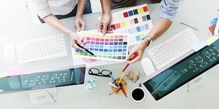 Design Studio Creativity Ideas Teamwork Technology Concept royalty free stock photos